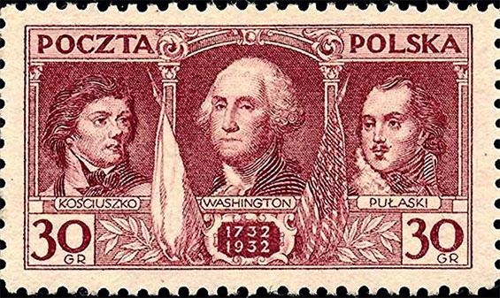Znaczek jakim Poczta Polska upamiętniała 200-lecie urodzin Waszyngtona  z Kościuszką i Pułaskim po jego bokach. Miłości między nimi nie było…