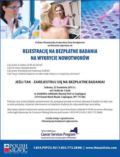 Bezpłatne badania medyczne na Long Island w oddziale  P-SFUK, z udziałem przedstawiciela Cancer Services Program of Western Suffolk