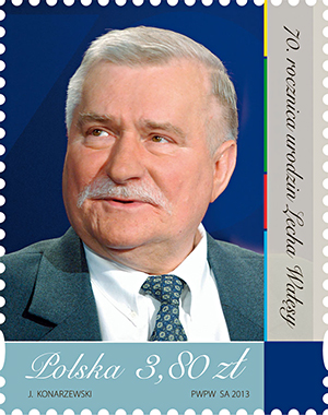Lech  Wałęsa na znaczku Poczty Polskiej