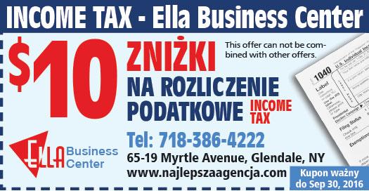 Kupon firmy Ella Business Center z Polonijnej Książki Polish American Pages