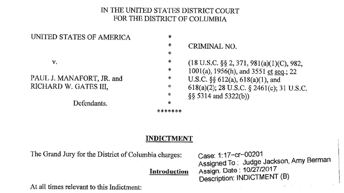 Federal grand jury indictment against Manfort and Gates