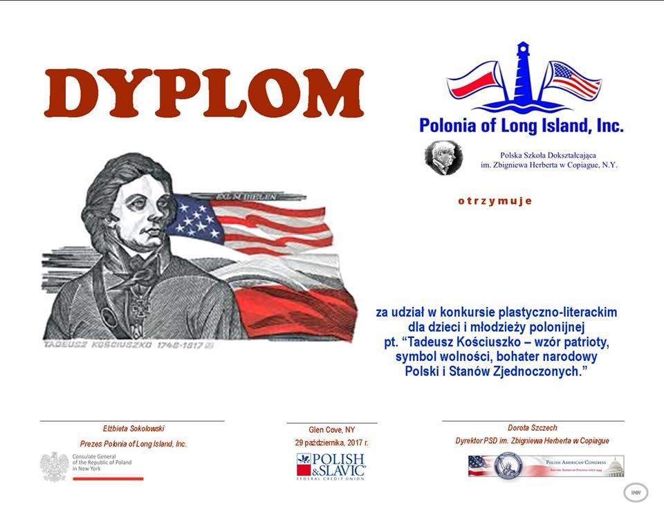Laureaci konkursu o Kościuszce dla dzieci i młodzieży polonijnej w NY i NJ