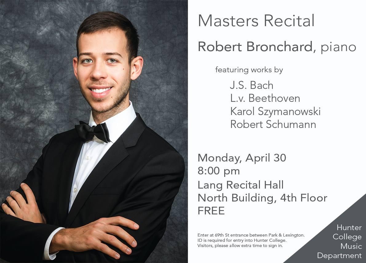 Masters Recital in NY: Robert Bronchard in Manhattan
