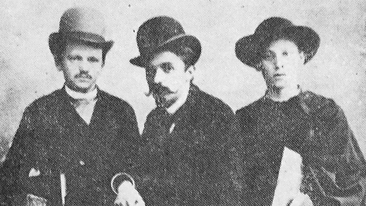 Od lewej: Witold Rubczyński, Stanisław Windakiewicz, Jan Nepomucen Fijałek (Rome, 1888)