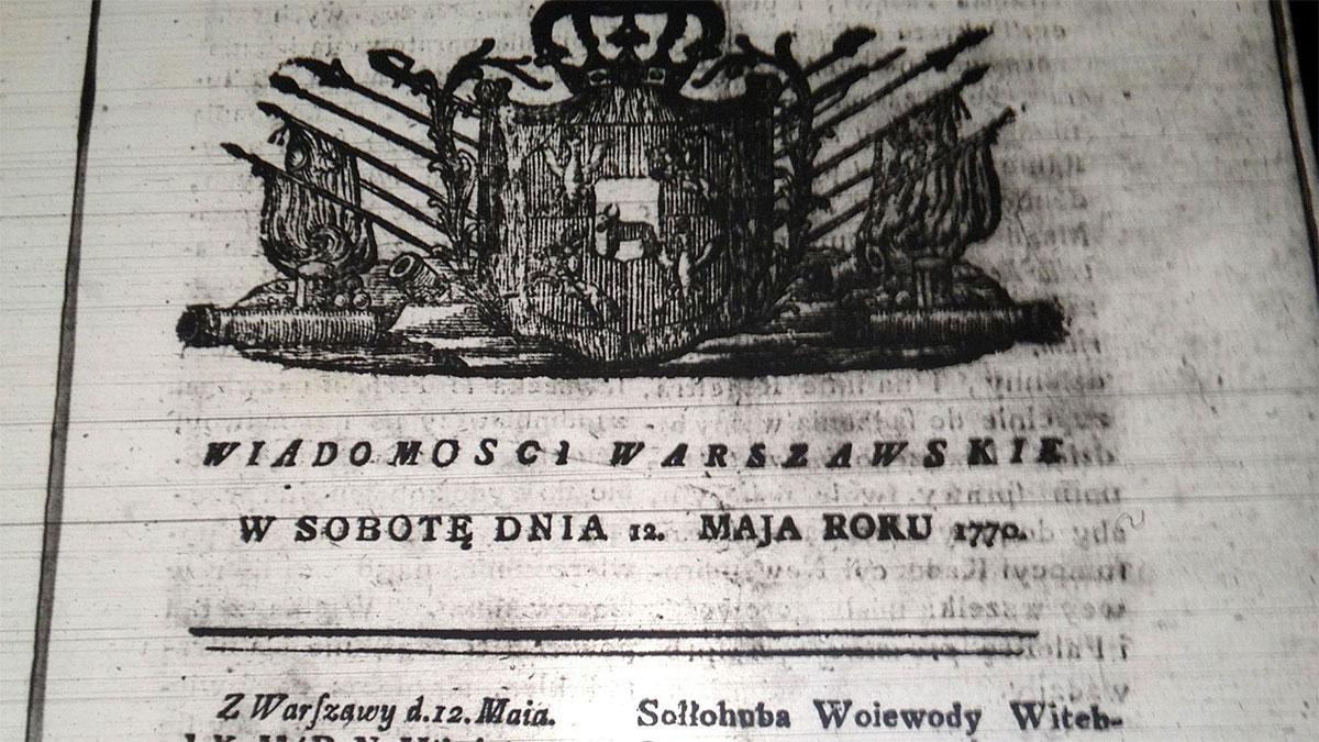 Wiadomosci Warszawskie 1770. Foto: Baliw, from Wikimedia Commons