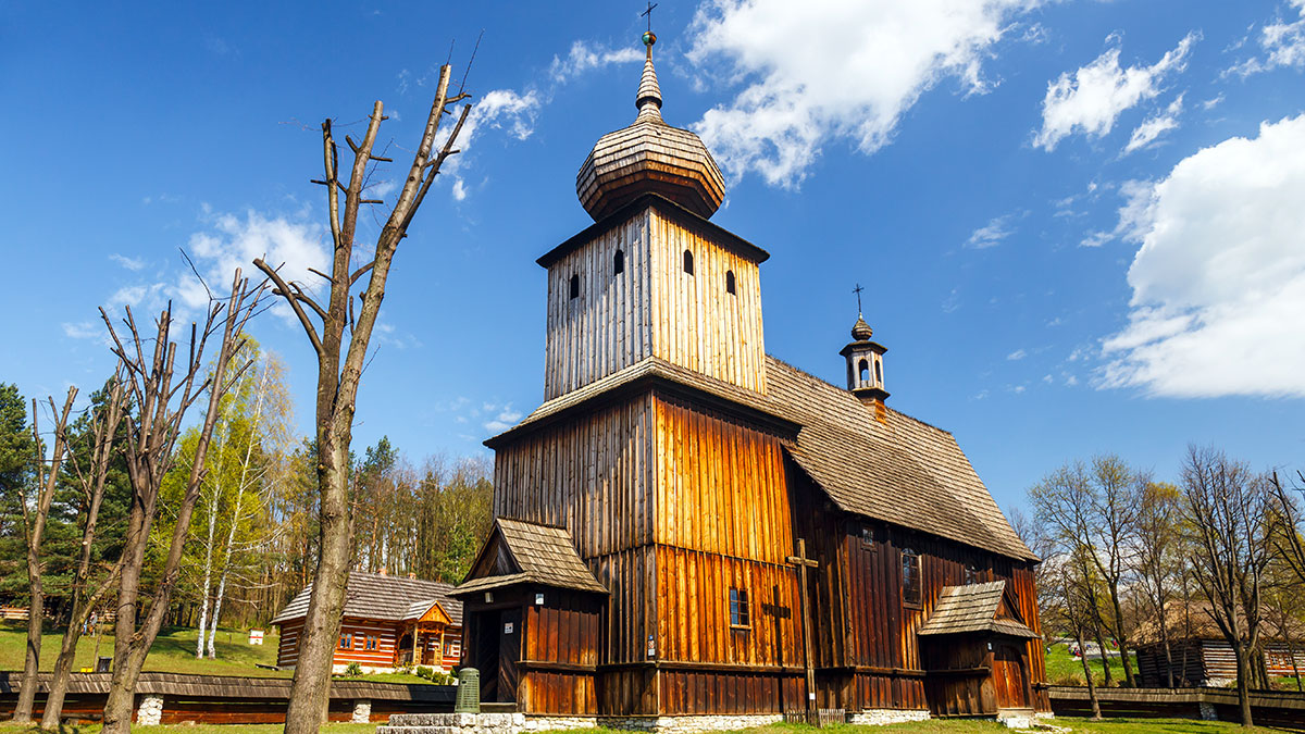 Old log church in an open-air ethnography museum in Wygielzow Poland