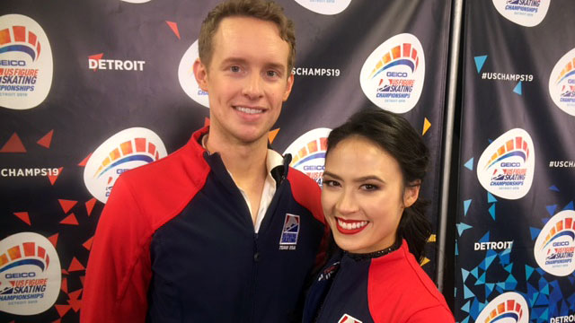 Madison Chock and Zach Bates in Detroit just back from Poland.