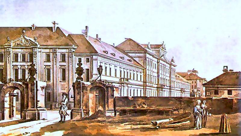 Collegium Nobilium po przebudowie przez Zawadzkiego w 1788 na akwareli Widok konwiktu Pijarów Zygmunta Vogla