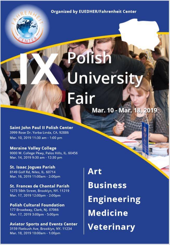 USA: IX Polskie Targi Uniwersyteckie w CA, IL, NJ i NY w marcu 2019