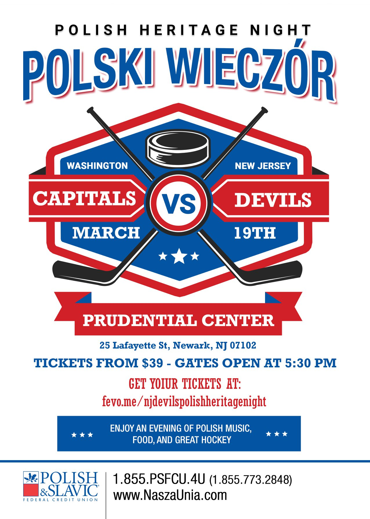 NJ: Polish Heritage Night with New Jersey Devils and Washington Capitals