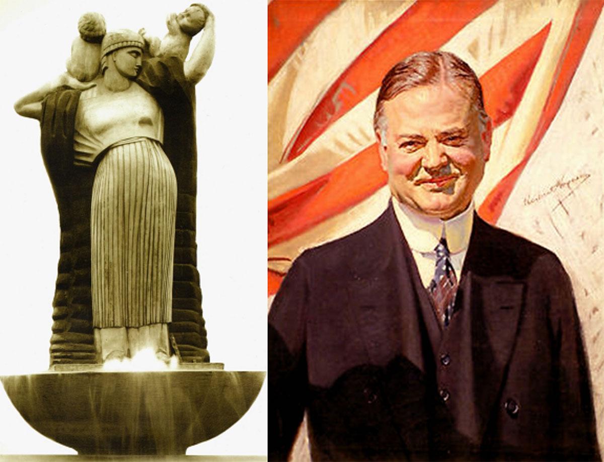 Pomnik Wdzięczności Ameryce i Herbert Hoover, którego imieniem nazwano skwer, na którym  monument stanął w Warszawie w 1922 roku. Foto: Archiwum