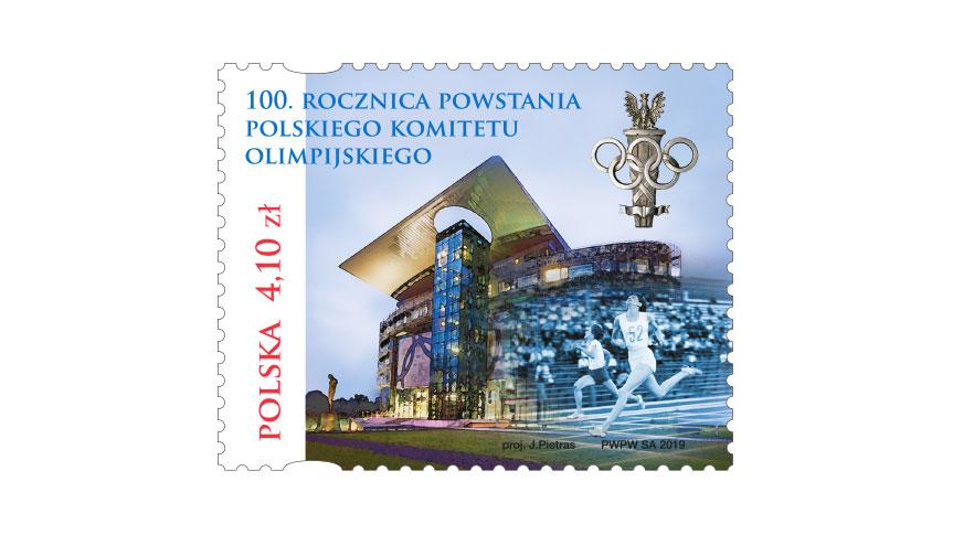 Irena Szewińska na znaczku na 100. rocznicę powstania Polskiego Komitetu Olimpijskiego