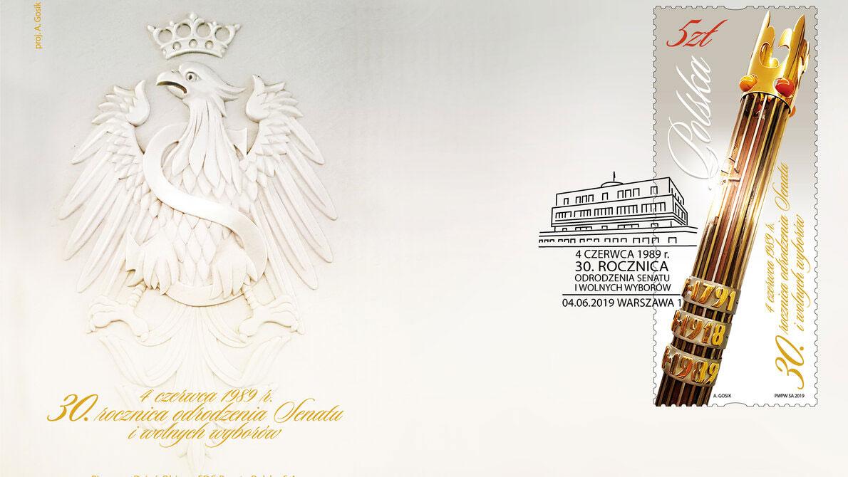 Znaczek Poczty Polskiej z okazji 30. rocznicy wolnych wyborów do odrodzonego Senatu