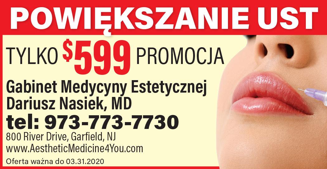 Powiększanie ust w klinice Dr Nasieka w Garfield