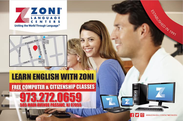Learn English with Zoni Language Centers in Passaic, NJ