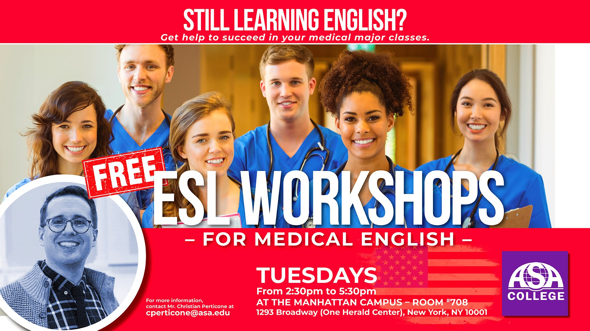 Free ESL workshop for Medical English in New York at ASA College