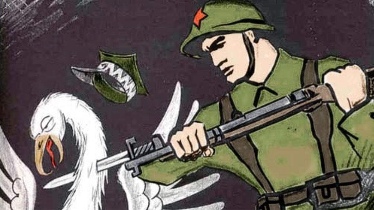Sowiecki plakat propagandowy ilustrujący sedno najazdu…
