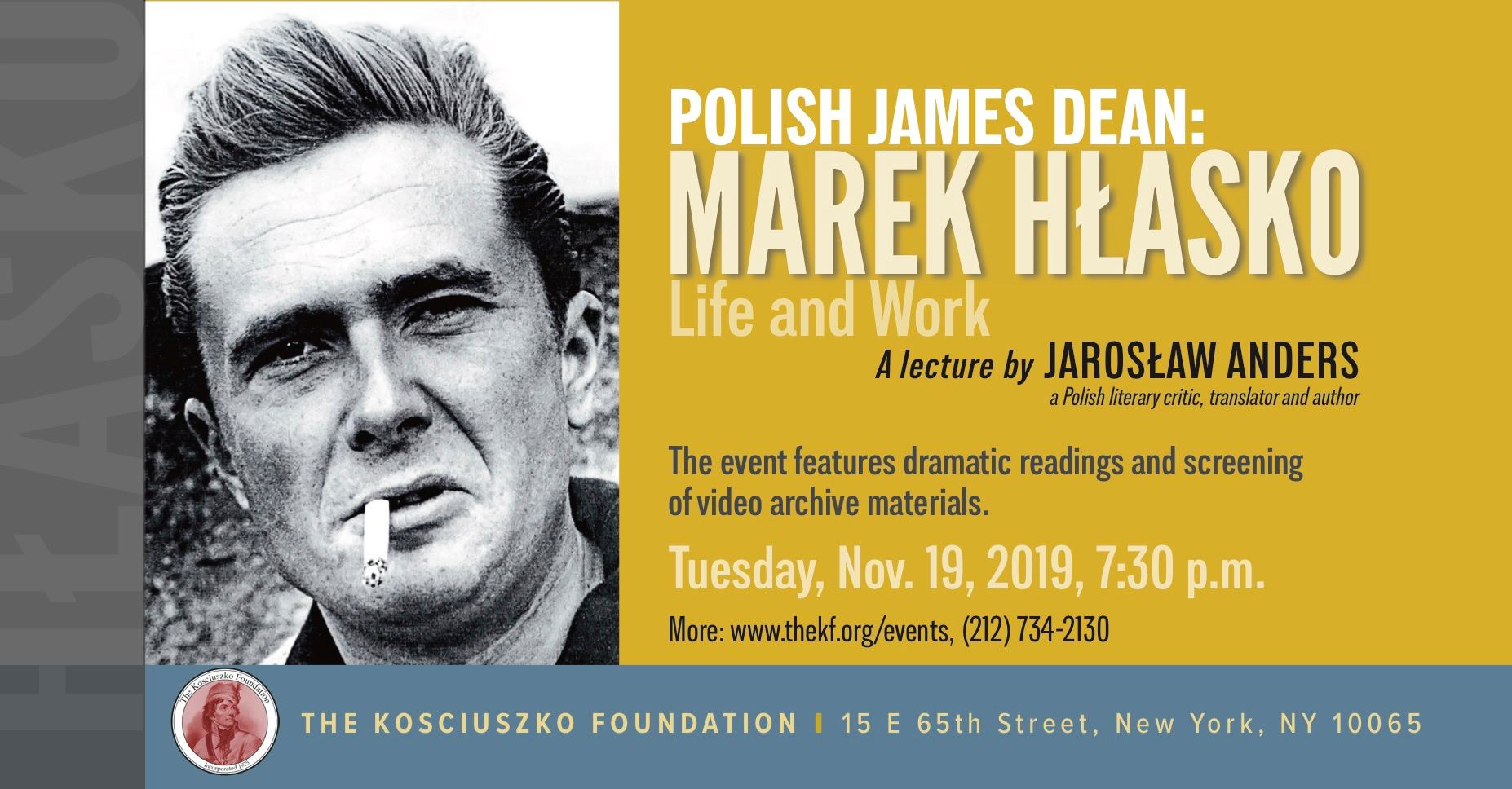 Polish James Dean: Marek Hlasko - Life and Work at The Kosciuszko Foundation