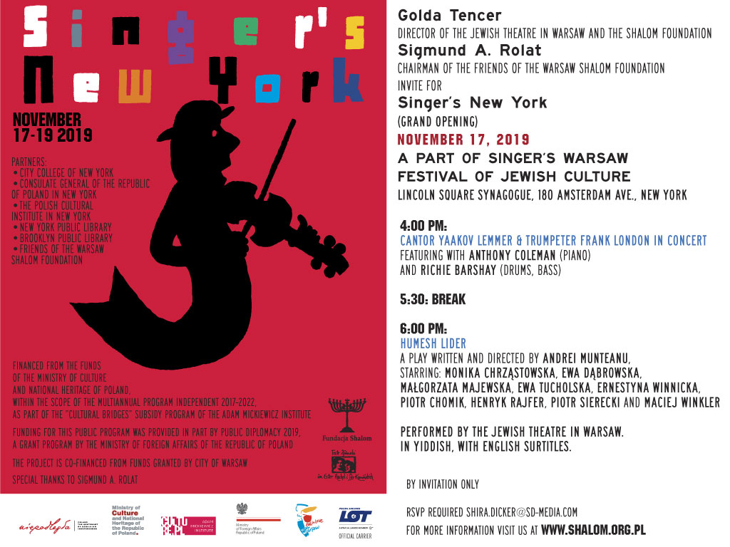 NY: The Singer's Warsaw Festival of Jewish Culture in New York