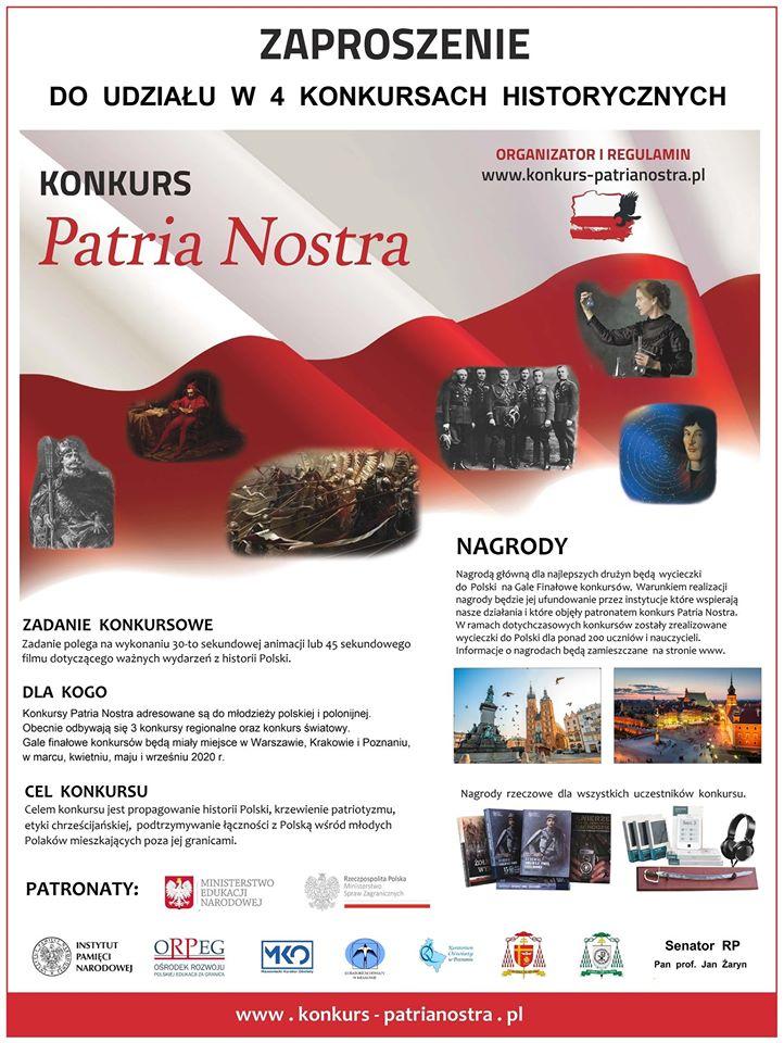 V edycja konkursów Patria Nostra dla młodzieży polskiej i polonijnej