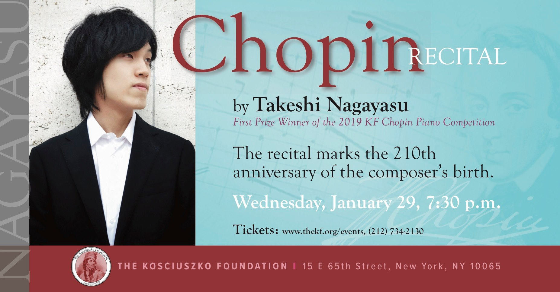 A Chopin Recital by Takeshi Nagayasu at the Kosciuszko Foundation in NYC