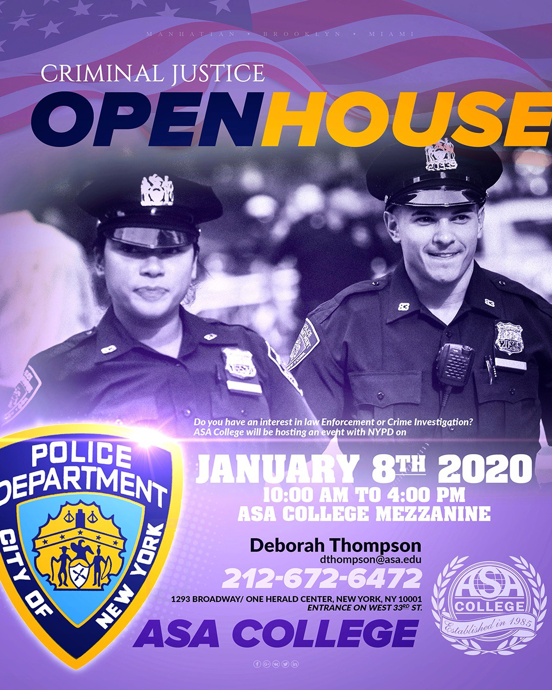 Criminal Justice Open House at ASA College‎ in NYC