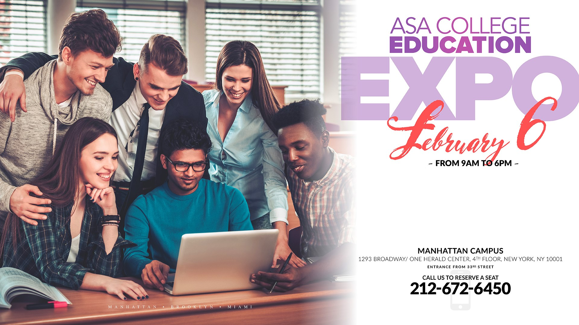 Education Expo 2020 in New York at ASA College. Legal Studies, Healthcare, Business, Computing...