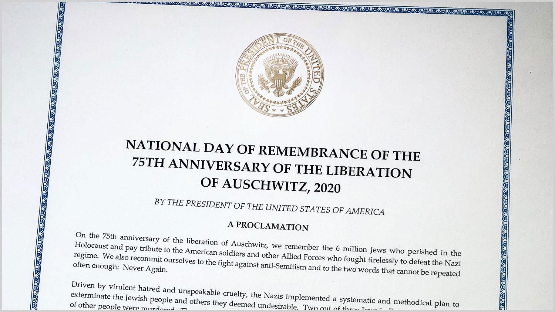 Prezydent Trump, w 75. Rocznicę Wyzwolenia Auschwitz, ustanowił 27 stycznia Narodowym Dniem Pamięci