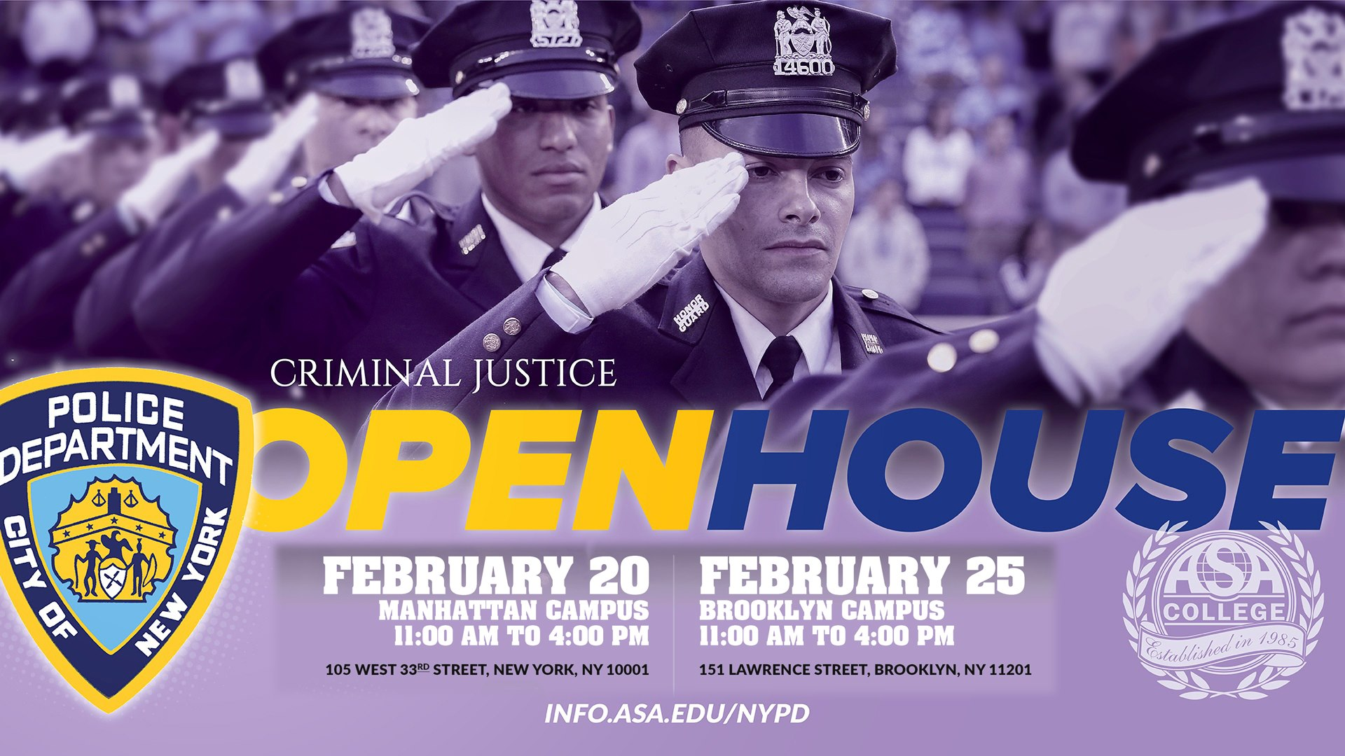 NY: Criminal Justice Open House at ASA College‎ in Manhattan and Brooklyn