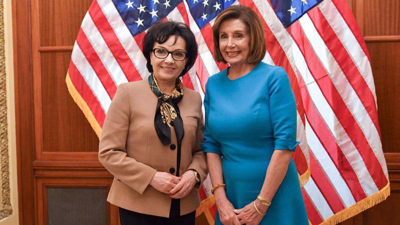 Marszałek Sejmu Elżbieta Witek spotkała się z Nancy Pelosi