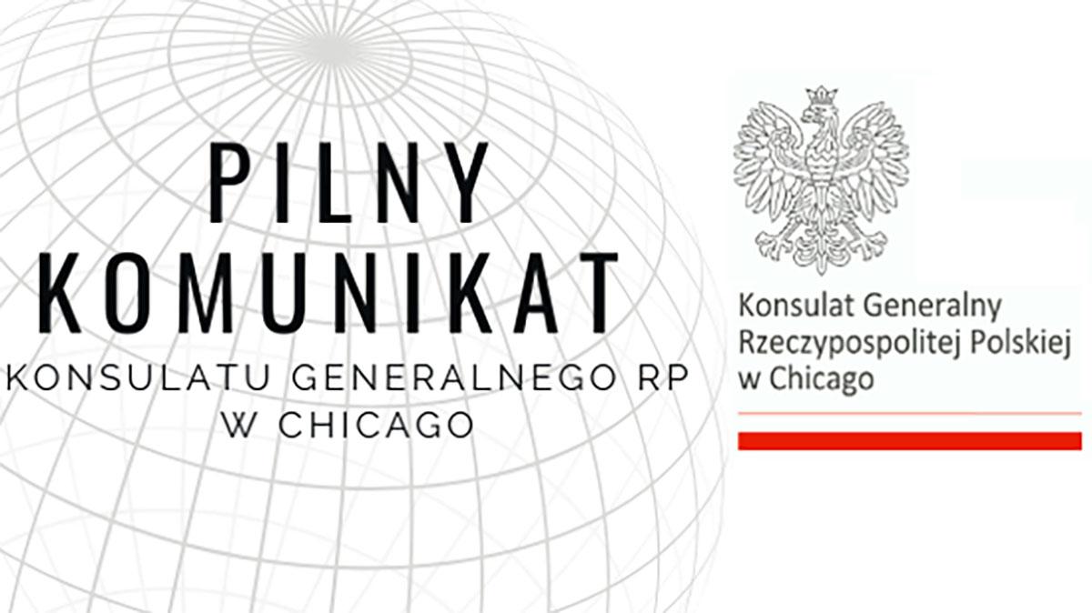 Konsulat RP w Chicago, w związku z koronawirusem, zawiesza wizyty umówione przez E-konsulat
