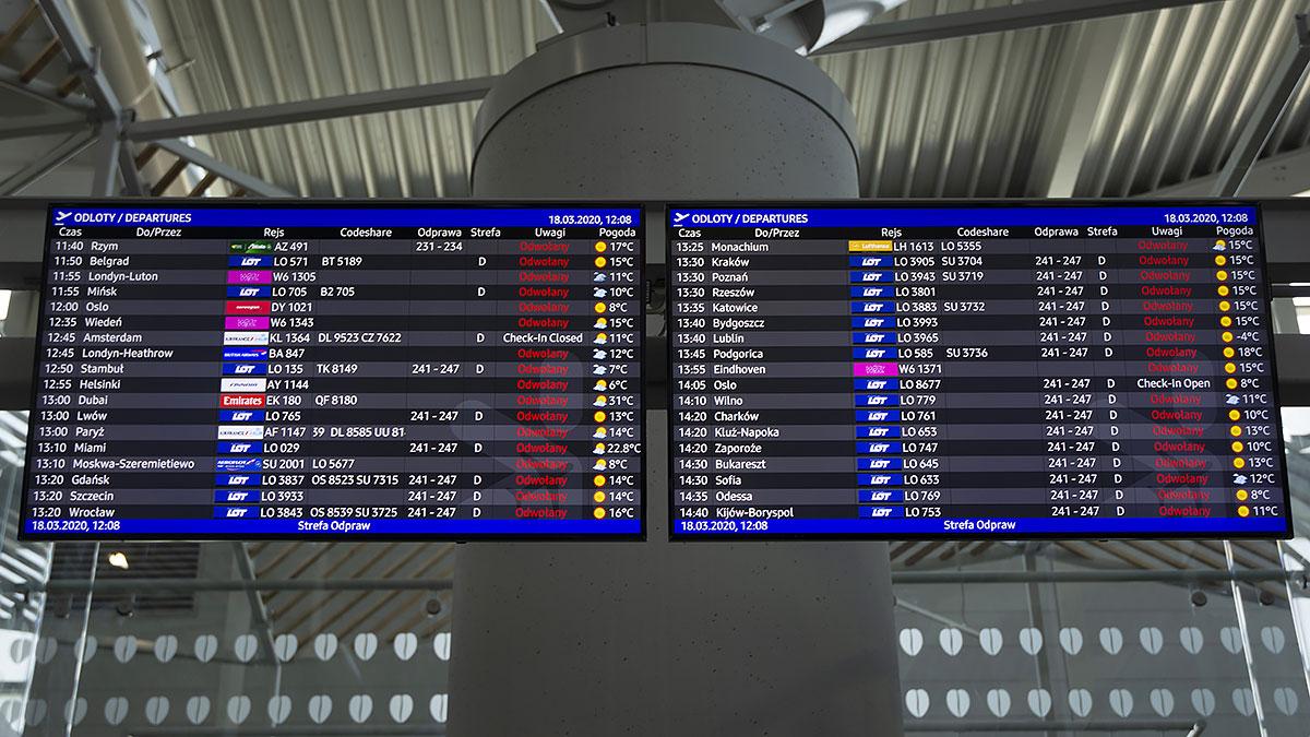 Loty zaplanowane w dniach 12-26 kwietnia 2020 zostały odwołane przez PLL LOT