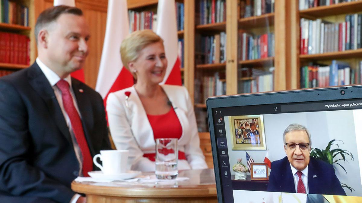 Wideokonferencja Pary Prezydenckiej z przedstawicielami Polonii