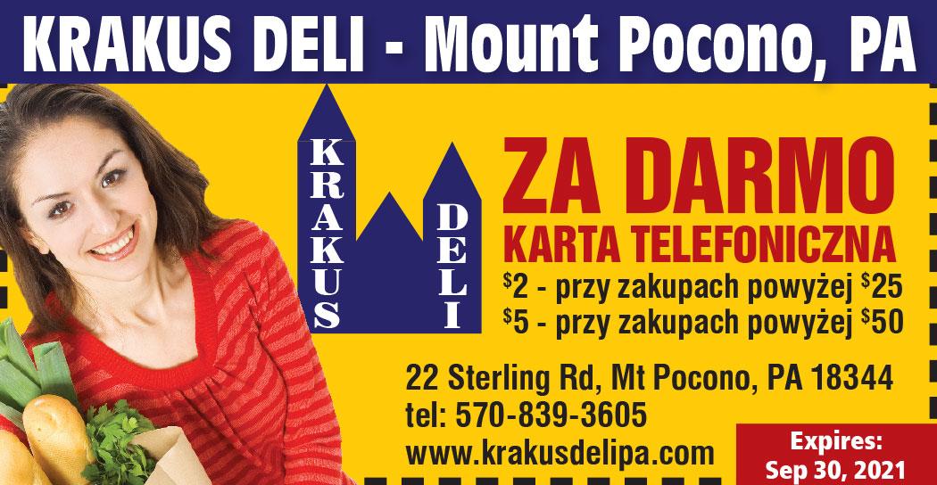 Karty telefoniczne na telefony do Polski w Krakus Deli w PA
