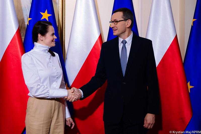 Premier Morawiecki spotkał się Swiatłaną Cichanouską z liderką białoruskiej opozycji Swiatłaną Cichanouską