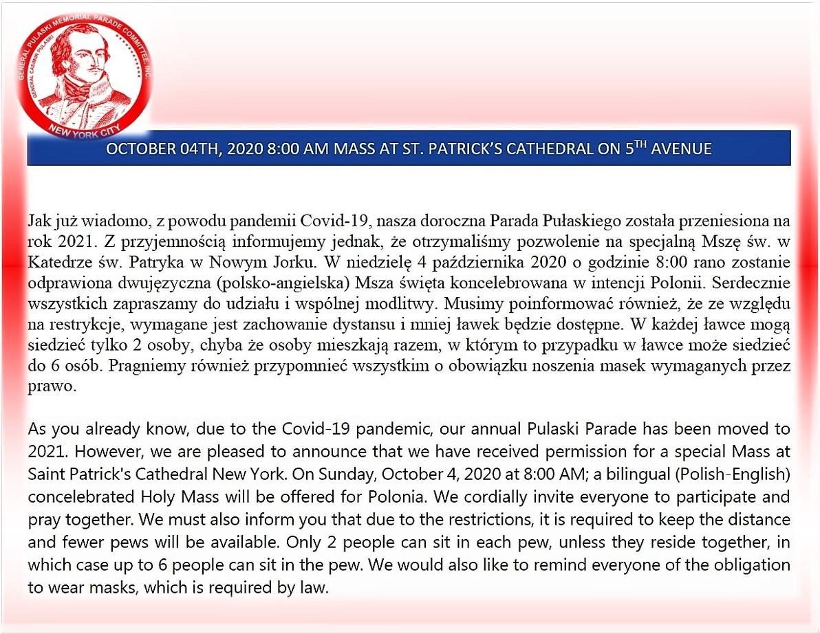 Parada Pułaskiego 2020: Będzie polska Msza św. w Katedrze św. Patryka w Nowym Jorku 10/04/2020