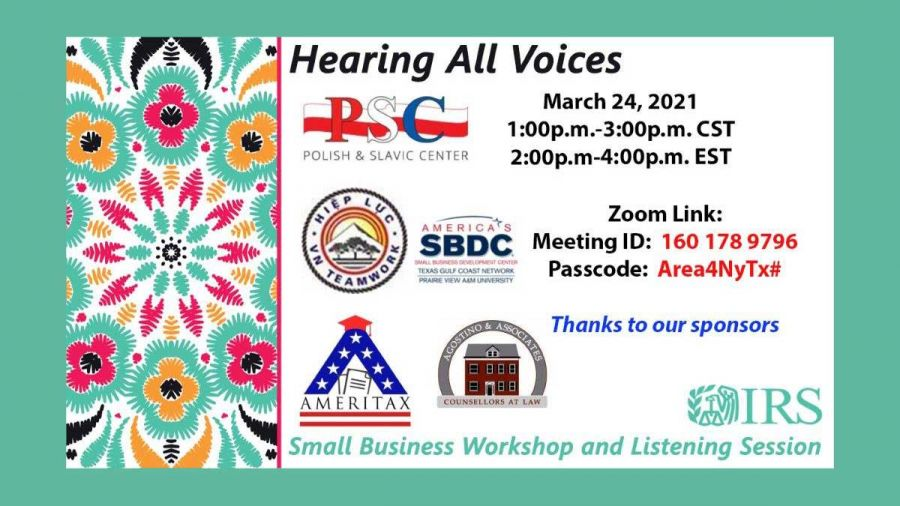 """Hosted by the IRS: """"Hearing All Voices - Small Business Workshop & Listening Session"""""""