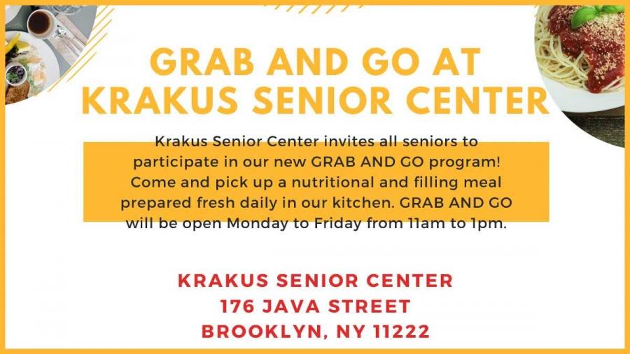 "Program ""Grab and Go"" meal at Krakus Senior Center in Greenpoint, NY"