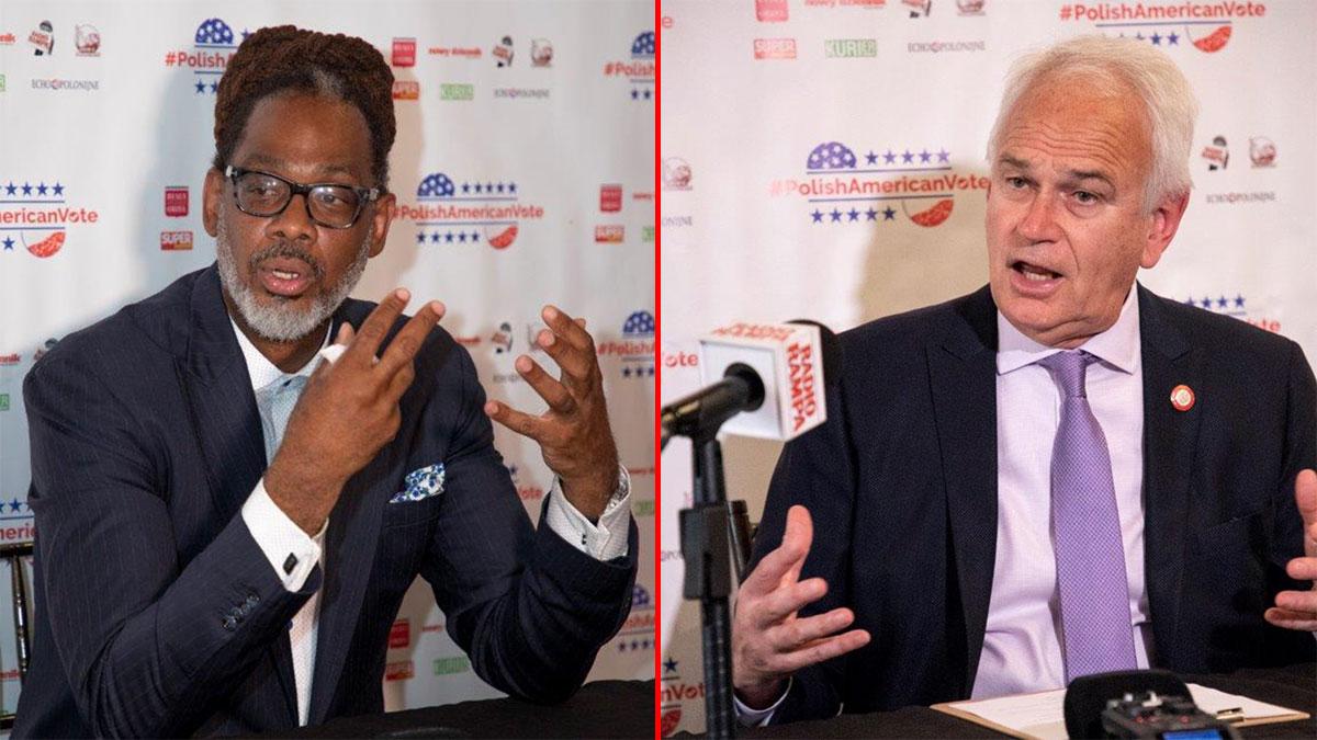 Robert E. Cornegy i Robert Holden na konferencji prasowej przed wyborami do władz miejskich Nowego Jorku