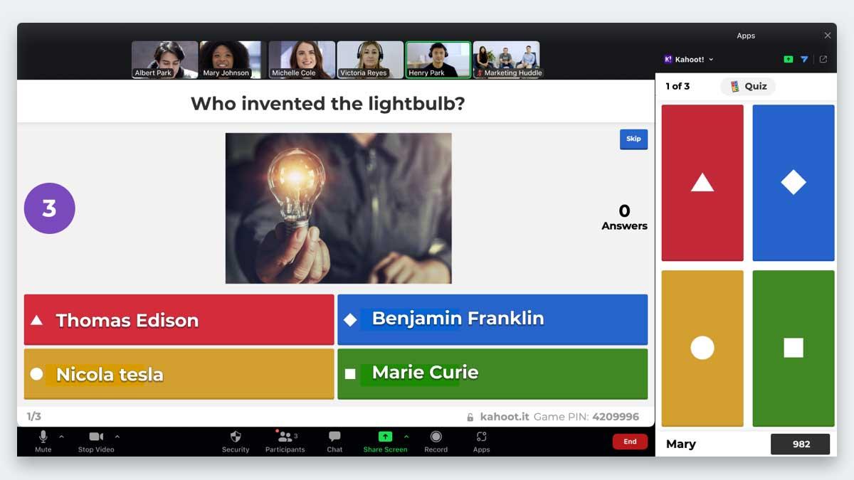 Integracja aplikacji Kahoot! z Zoom pomoże uczestnikom spotkań online