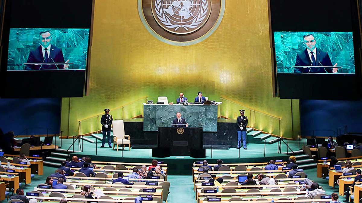Prezydent Andrzej Duda przemawia na 76. sesji ZO ONZ