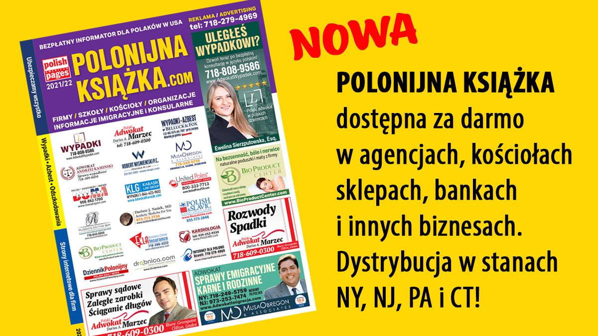 Polonijna Książka w USA na rok 2022, w druku i internecie - bezpłatny informator z firmami polonijnymi